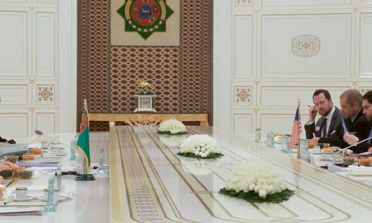 U.S. Secretary of State John Kerry addresses Turkmenistan President Gurbanguly Berdimuhamedov at the outset of a bilateral meeting with the President and Foreign Minister Rasit Meredov. [State Department photo/ Public Domain]