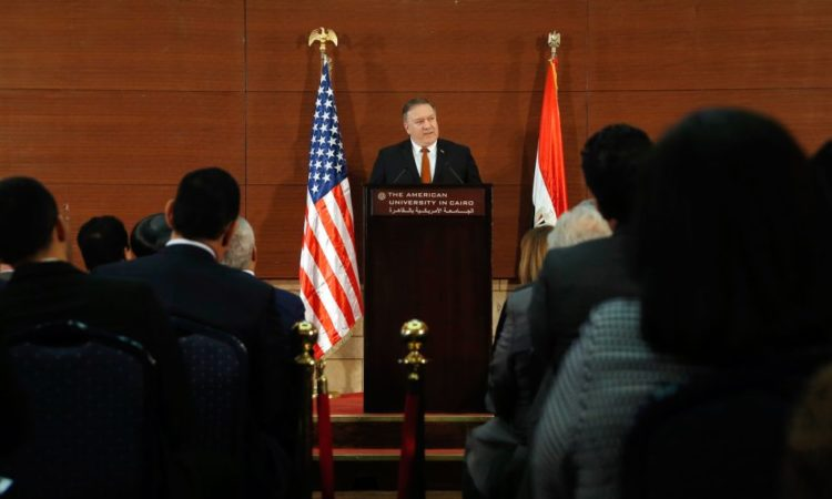 Secretary of State Mike Pompeo at the historic American University in Cairo on January 10. (© Amr Nabil/AP Images)